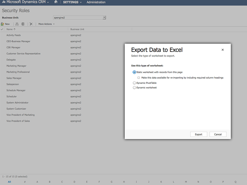 Dynamics CRM Security export to Excel